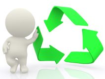 3D man with hand on recycling sign Royalty Free Stock Images