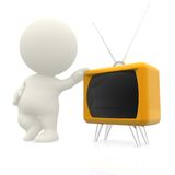 3D man with hand on a TV Royalty Free Stock Photography