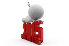 3d man happy new year 2015 lying concept Stock Image