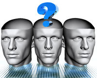 3D man heads with blue question. Mark Stock Photography