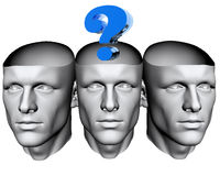 3D man heads with question mark. 3D man heads with blue question mark Stock Photos