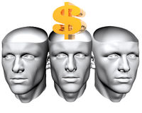 3D man heads with us dollar sign Royalty Free Stock Photos