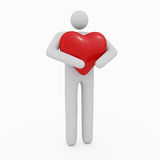 3D Man & Heart. 3D Man with a big glossy heart Stock Images