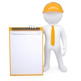3d man in a helmet holding a clipboard. Render on a white background Royalty Free Stock Photos