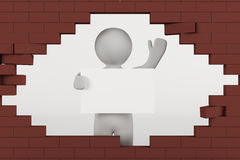 3D man holding a blank white sign. Through a hole in a brick wall Royalty Free Stock Photos