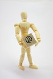 3D Man Holding @ (at) Box. 3D Man Holding a box with the at symbol Royalty Free Stock Photos