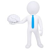 3d man holding a brain. Isolated render on a white background Royalty Free Stock Photos