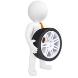 3D man holding a car wheel Royalty Free Stock Photography