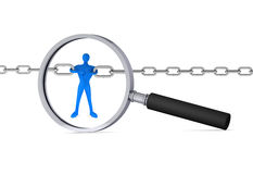 3d man holding a chain together in the magnifier. / 3d icon Royalty Free Stock Image