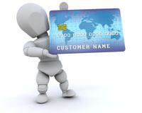 3D man holding a credit hard Stock Photography