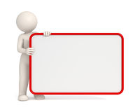 3d man holding an empty board with Red frame. Copyspace - Isolated Royalty Free Stock Photo