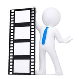 3d man holding a film. Render on a white background Stock Images