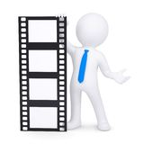 3d man holding a film. Render on a white background Royalty Free Stock Photo
