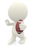 3D man holding a football ball Stock Photo