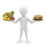 3d man holding fruit and hamburger. 3d image. Stock Photos