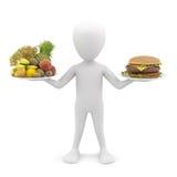 3d man holding fruit and hamburger. 3d image. Stock Photos