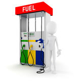 3d man holding a fuel pump Royalty Free Stock Photography