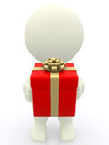 3D man holding a gift Royalty Free Stock Images