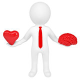 3d man holding a heart and a brain. Isolated render on a white background Royalty Free Stock Image