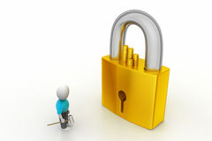 3D man holding a   key and padlock Stock Photos
