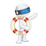 3d man holding Lifebuoy Stock Image
