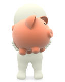 3D man holding a piggybank Stock Photo