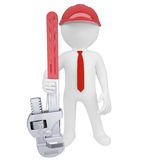 3D man holding a pipe wrench. Isolated render on a white background Stock Photography