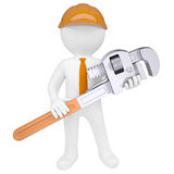 3D man holding a pipe wrench Royalty Free Stock Image
