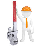 3D man holding a pipe wrench. Isolated render on a white background Stock Photos