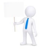 3d man holding a poster. Render on a white background Stock Photos