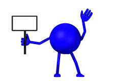 3d Man Holding A Sign. A 3d render of a blue man holding a sign isolated on a white background Stock Image