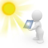 3D man holding solar panel Stock Photo