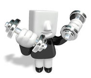 3d man holding their dumbbell together Stock Photography