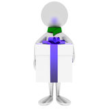 3D Man Holds Gift Isolated On White. Stock Photo