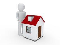 3d man house. Human home estate red Stock Photos