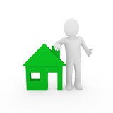 3d man house green Royalty Free Stock Images