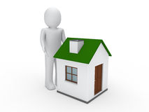 3d man house green. Energy home estate Royalty Free Stock Image