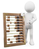 3D man with a huge abacus. Rendered at high resolution on a white background with diffuse shadows Royalty Free Stock Image