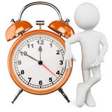 3D man with a huge alarm clock. Rendered at high resolution on a white background with diffuse shadows Royalty Free Stock Photos