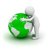 3d man hugging green globe. Love the earth concept, 3d man hugging green globe on white background Stock Photos