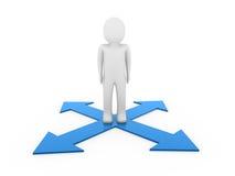 3d man human arrow blue way. Direction success Stock Photo