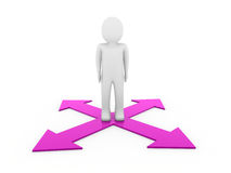 3d man human arrow purple way Royalty Free Stock Photos