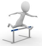 3D man hurdling. 3D man jumping over a hurdle Stock Images