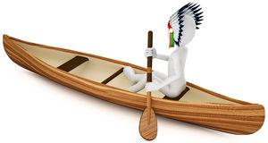 3d man indian warrior with canoe. On white background Stock Photography