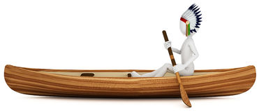3d man indian warrior with canoe. On white background Stock Photos