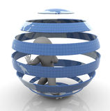 3d man inside caged globe. 3d man trapped inside caged globe Stock Photography