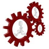 3d man inside a gear wheel Royalty Free Stock Photos