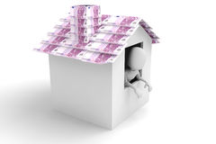 3d man - inside a house with roof made of monney Stock Image