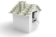 3d man - inside a house with roof made of monney Royalty Free Stock Photography