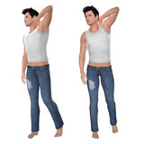 3d man in jeans Stock Photos